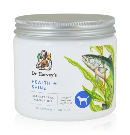 Dr harvey 39 s health and shine for dogs 180 ct salmon for Fish oil for dogs dosage