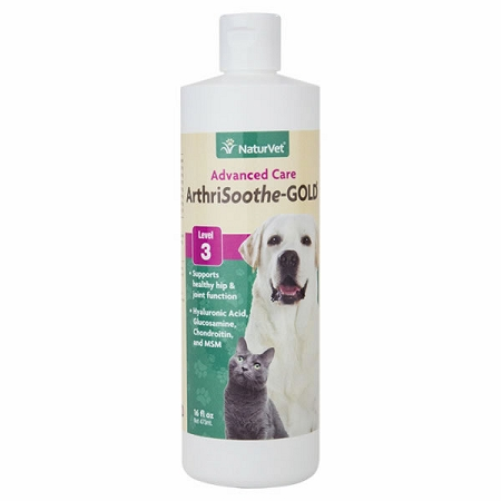 NaturVet Arthrisoothe Gold Liquid - 16 oz.  Joint Care for Dogs & Cats