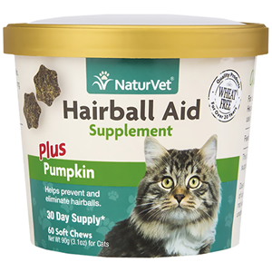 NaturVet Hairball Aid plus Pumpkin 60 ct.  - Hairball Remedy for Cats