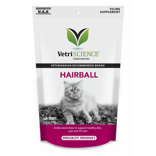 VetriScience Hairball Chews - Hairball Remedy for Cats- 60 chews