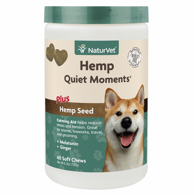 NaturVet Hemp Quiet Moments Calming Aid for Dogs - 60 chews