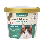 NaturVet Quiet Moments Calming Aid Plus Melatonin Soft Chews for Cats - 60 ct.