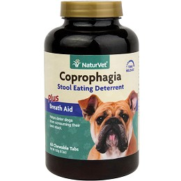 NaturVet Coprophagia Deterrent - 60 tablets -  Stops Dogs Eating Poop