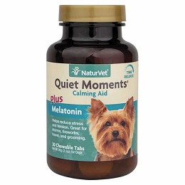 NaturVet Quiet Moments plus Melatonin - 30 ct. - Calming Remedy for Dogs